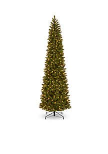 12 ft Feel Real Downswept Douglas Fir Pencil Slim Tree with Clear Lights