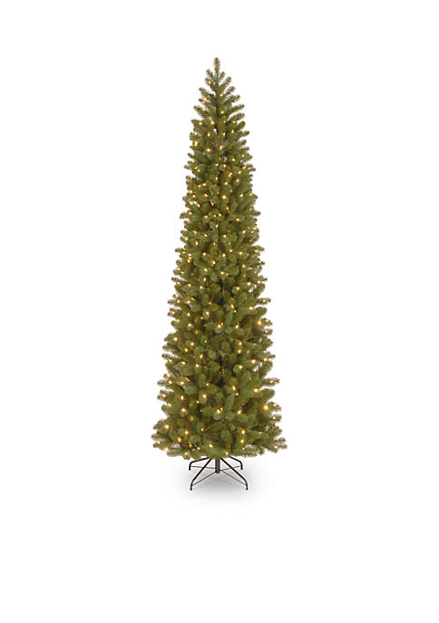 9 Foot Feel Real Downswept Douglas Fir Pencil Slim Tree with Clear Lights
