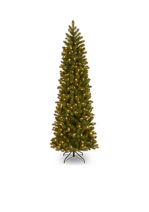 6.5 Foot Feel Real Downswept Douglas Fir Pencil Slim Tree with LED Lights