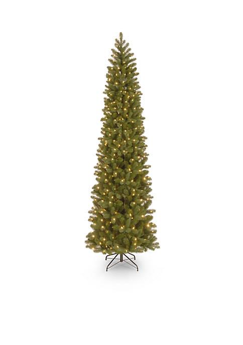 9 Foot Feel Real Downswept Douglas Fir Pencil Slim Tree with 500 LED Lights