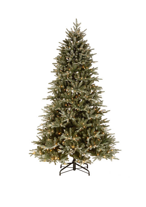 7.5 Foot Frosted Geneva Tree with Clear Lights