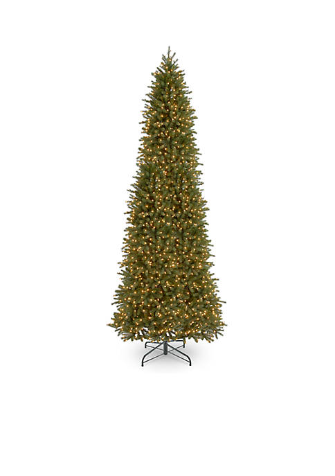 12-ft. Feel Real Jersey Fraser Fir Pencil Slim Tree with Clear Lights
