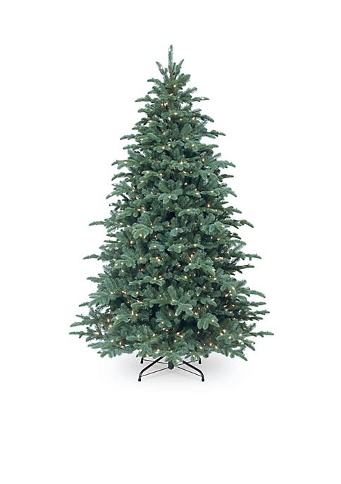 90 In Feel Real Mountain Noble Spruce Hinged Tree With Lights