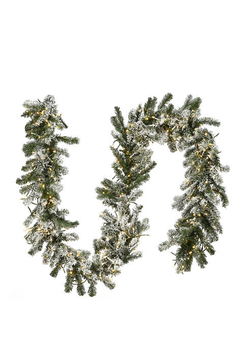 9 Foot Snowy Sheffield Spruce Garland with Battery Operated LED Lights