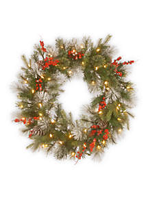 30-in. Feel Real Wintry Berry Collection Wreath with LED Lights