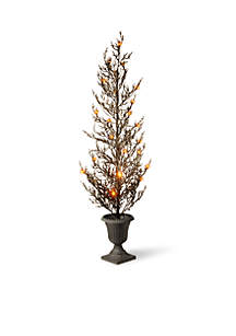 46-in. Black Glittered Halloween Tree with Lights
