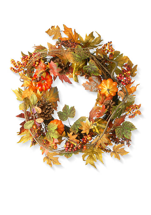 National Tree Company® 24-in. Maple Wreath with Pumpkins