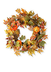 24-in. Maple Wreath with Pumpkins