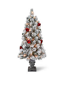 National Tree Company® 4 ft Snowy Bristle Pine Entrance Tree with Red and Silver Ornaments