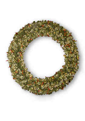 National Tree Company® Wintry Pine Wreath With Cones, Red Berries, Snowflakes With 400 ...