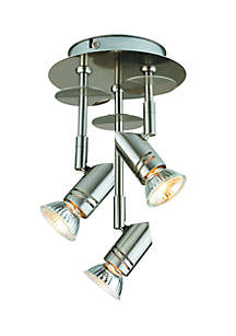 3-Light Fixed Canopy Brushed Nickel Ceiling Light