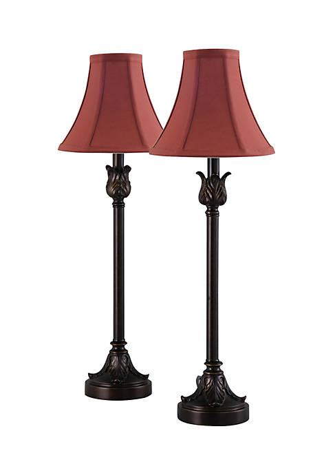 Catalina Lighting Set of 2 Metal Buffet Lamps