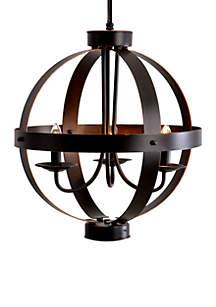 3-Light Bronze Metal Orb Chandelier