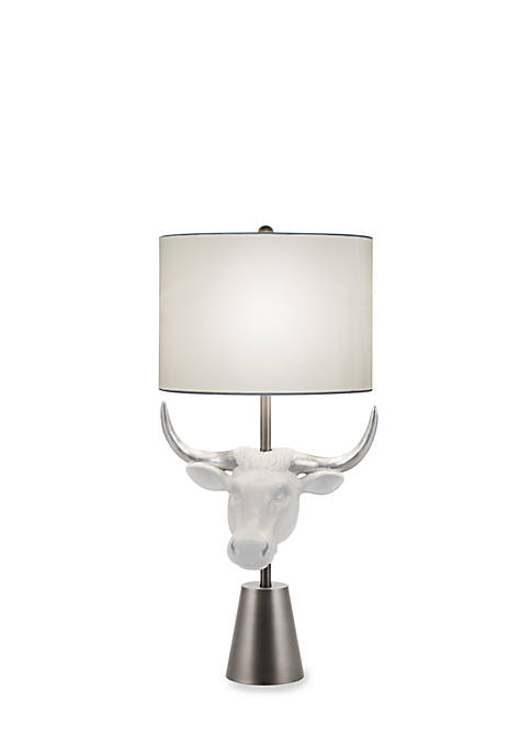Catalina Lighting White and Silver Leaf Cow Head