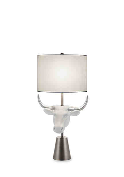 Catalina lighting white and silver leaf cow head table lamp