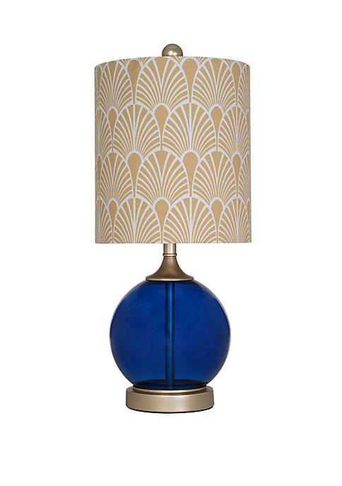 "Catalina Lighting 21"" Blue Glass Table Lamp"