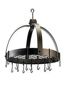 Dome Hanging Pot Rack with Grid & 16 Hooks