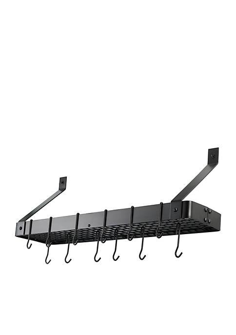 Wall-Mount Bookshelf Pot Rack with Grid & 12 Hooks