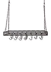 Rectangular Pot Rack with 16 Hooks