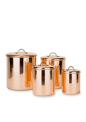 4-Piece Polished Copper Canister Set