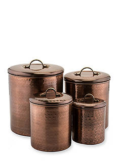 Old Dutch International, Ltd. 4-Piece Hammered Antique Copper Canister Set