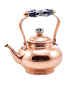Solid Copper Hand-Hammered Tea Kettle With Ceramic Handle