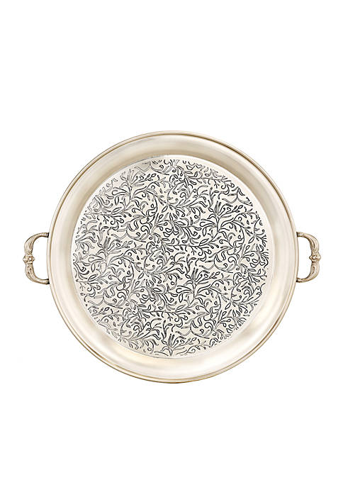 Marrakesh Antique Pewter Etched Tray