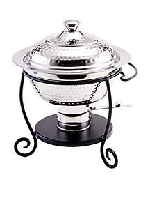 Old Dutch International, Ltd. Hammered Stainless Steel Chafing Dish with Black Iron Stand