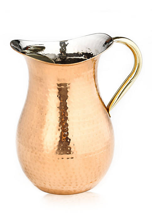 Decor Copper Hammered Water Pitcher with Brass Ice Guard & Handle