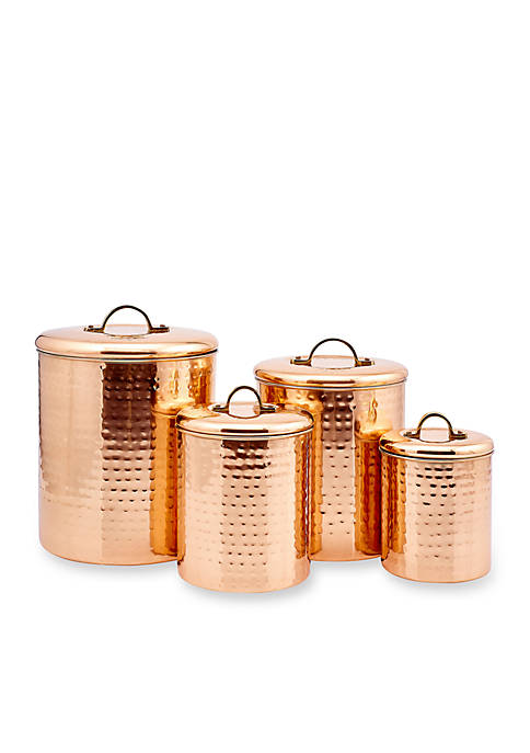 Old Dutch International, Ltd. 4-Piece Copper Hammered Canister