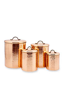4-Piece Copper Hammered Canister Set