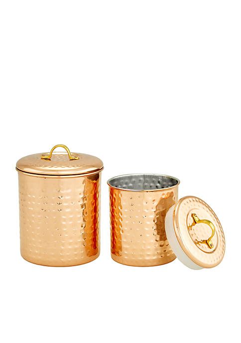 Hammered Copper Storage Canisters, Set of 2