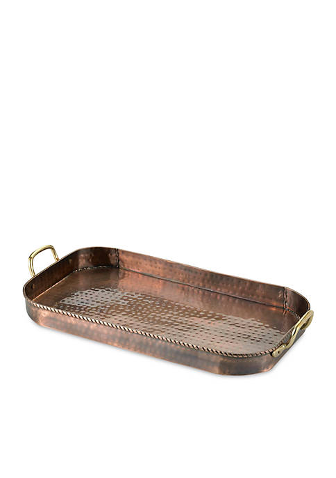 Hammered Antique Copper Oblong Tray w/ Cast Brass Handles