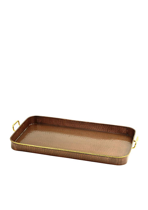 Hammered Antique Copper Oblong Tray with Cast Brass Handles
