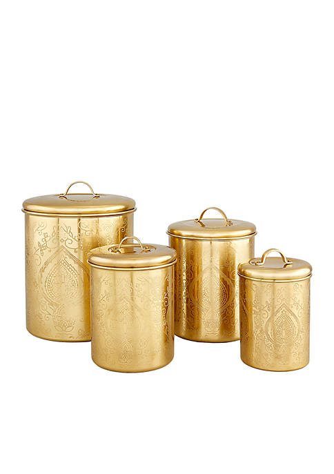 """""""Tangier"""" Champagne Etched Canisters, Set of 4"""