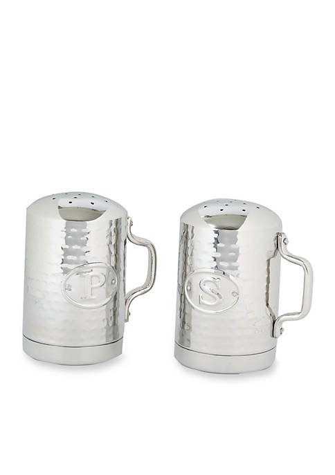 Hammered Stainless Steel Stovetop Salt and Pepper Set