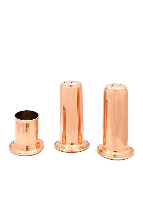 Solid Copper Salt & Pepper Set w/ Toothpick Holder