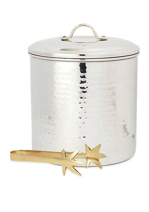 Hammered Stainless Steel Ice Bucket w/ Liner & Tongs, 3-qt.