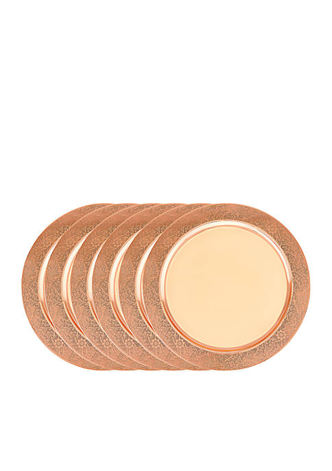 Copper Etched Rim Charger Plates, Set of 6