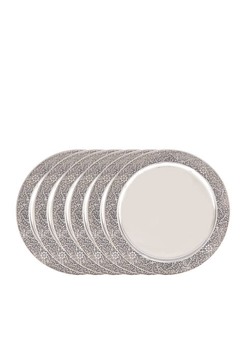 Stainless Steel Etched Rim Charger Plates, Set of 6