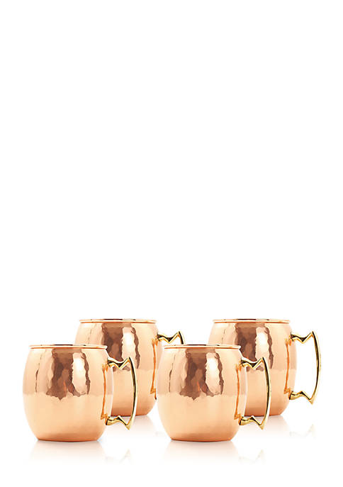 Set of 4 Solid Copper Mule Mugs with Hammered Finish