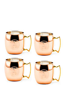 Solid Copper Moscow Mule Mugs, Set of 4 - Monogram A