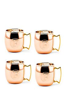 Solid Copper Moscow Mule Mugs, Set of 4 - Monogram F