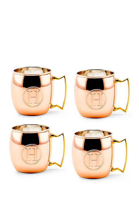 Solid Copper Moscow Mule Mugs, Set of 4 - Monogram H