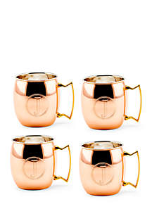 Solid Copper Moscow Mule Mugs, Set of 4 - Monogram J