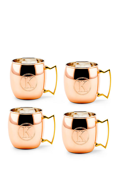 Solid Copper Moscow Mule Mugs, Set of 4 - Monogram K