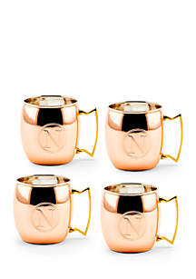 Solid Copper Moscow Mule Mugs, Set of 4 - Monogram N
