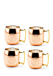 Solid Copper Moscow Mule Mugs, Set of 4 - Monogram P