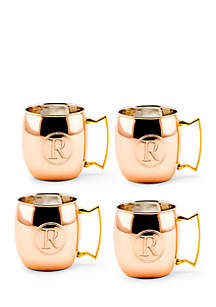 Solid Copper Moscow Mule Mugs, Set of 4 - Monogram R