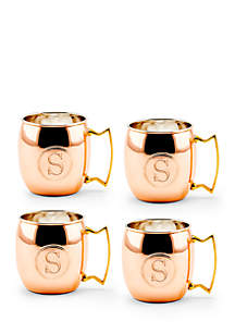 Solid Copper Moscow Mule Mugs, Set of 4 - Monogram S